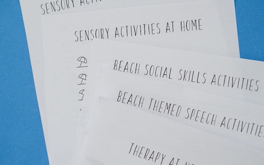 Using Beach Home Therapy Camp for Sensory Integration, Social Cues and Non-Verbal Children | ilslearningcorner.com