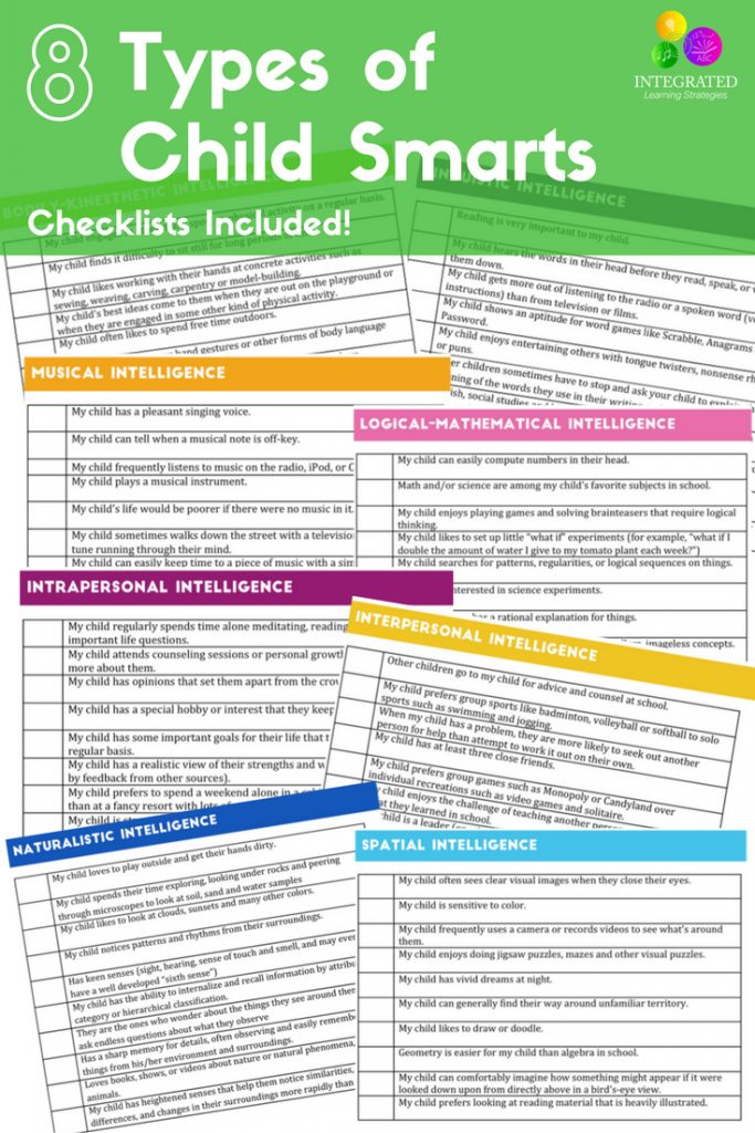 Intelligences Checklist: 8 Child Intelligences that Can Weaken or Strengthen a Child's Learning | ilslearningcorner.com