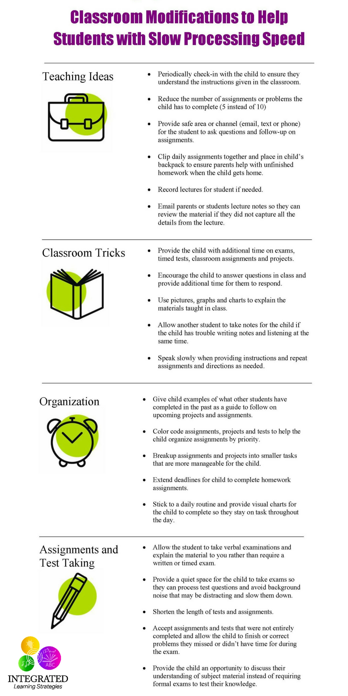 Classroom Modifications for Students that Struggle with Slow Processing Speed   ilslearningcorner.com