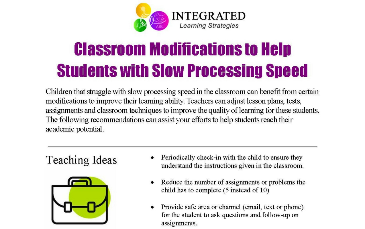 Classroom Modifications for Students that Struggle with Slow Processing Speed