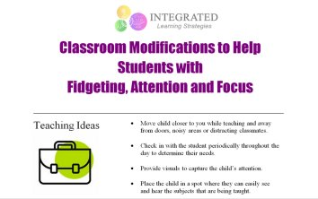 Classroom Modifications to Help Students with Fidgeting, Attention and Focus