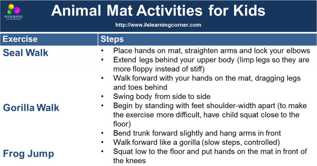 Mat Exercises: Brain-Building Animal Exercises for Gross Motor and Higher Learning | ilslearningcorner.com