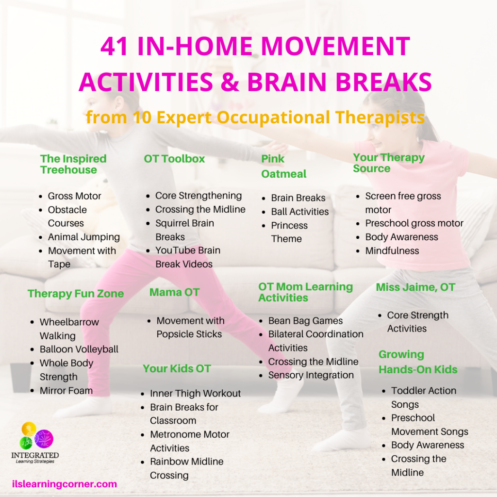 In-Home Movement Activities and Brain Breaks from the Best Occupational Therapists | ilslearningcorner.com