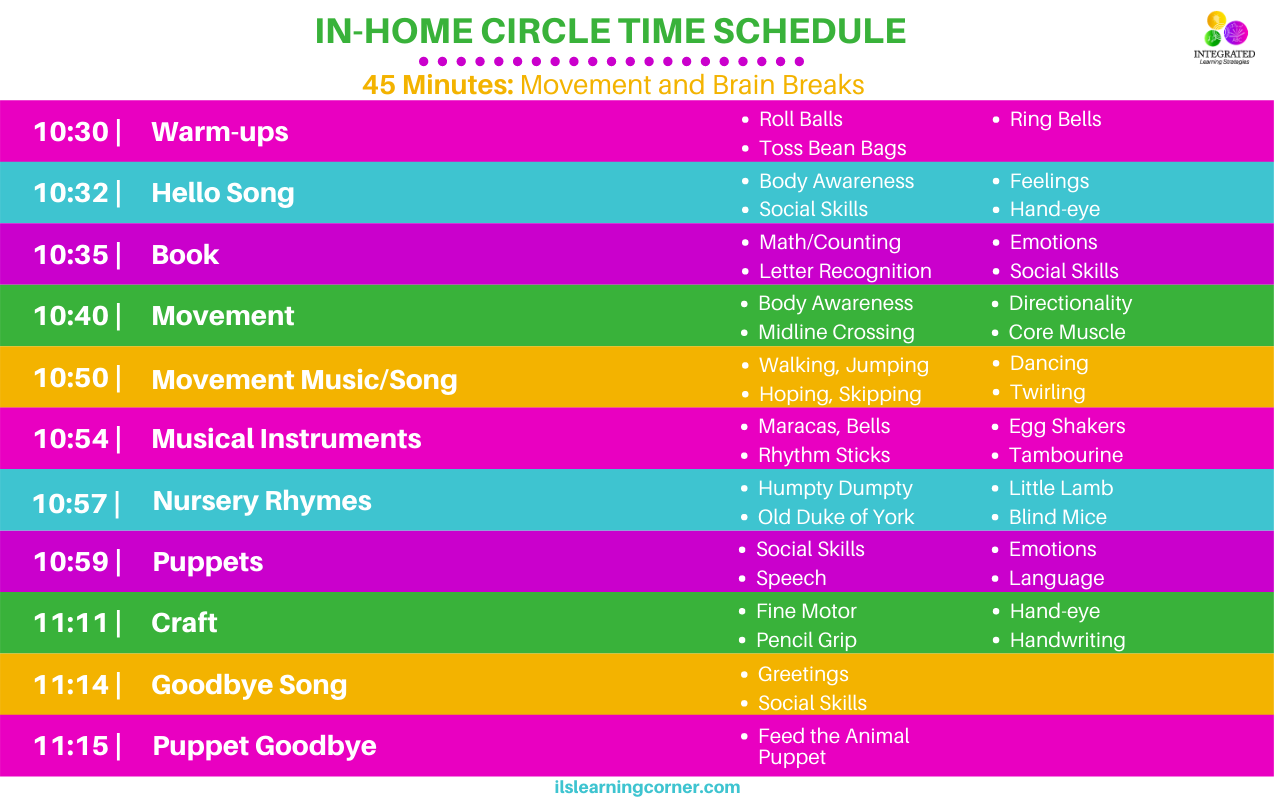 In-Home Circle Time Schedule With Purposeful Movement For Therapists, Parents And Teachers | Ilslearningcorner.com