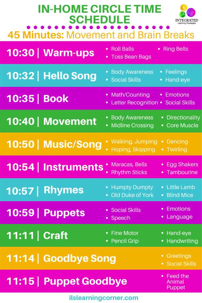 In-Home Circle Time Schedule with Purposeful Movement for Therapists, Parents and Teachers