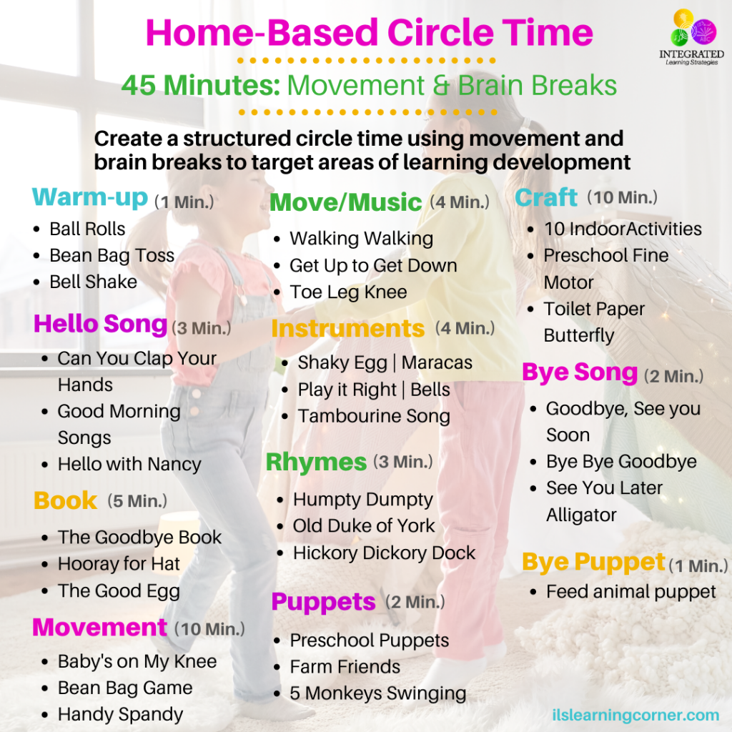 Home-Based Circle Time with Purposeful Movement and Brain Breaks for Parents, Therapists and Teachers | ilslearningcorner.com