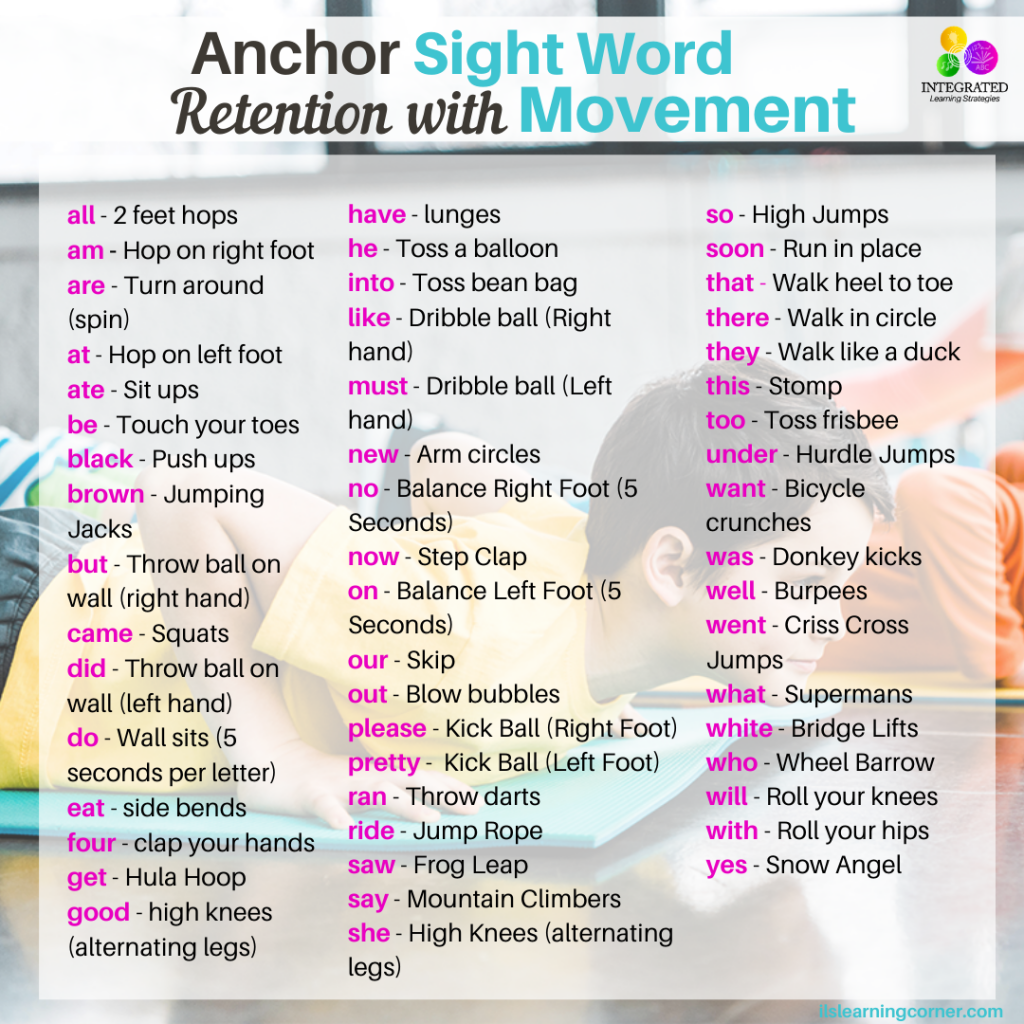 Anchor Sight Word Retention with Simple Movement Exercises | ilslearningcorner.com