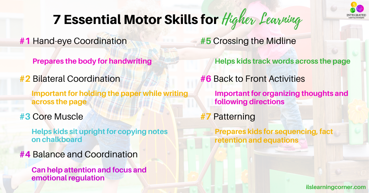 7 Essential Motor Skills Needed For A Child To Reach Academic Success | Ilslearningcorner.com
